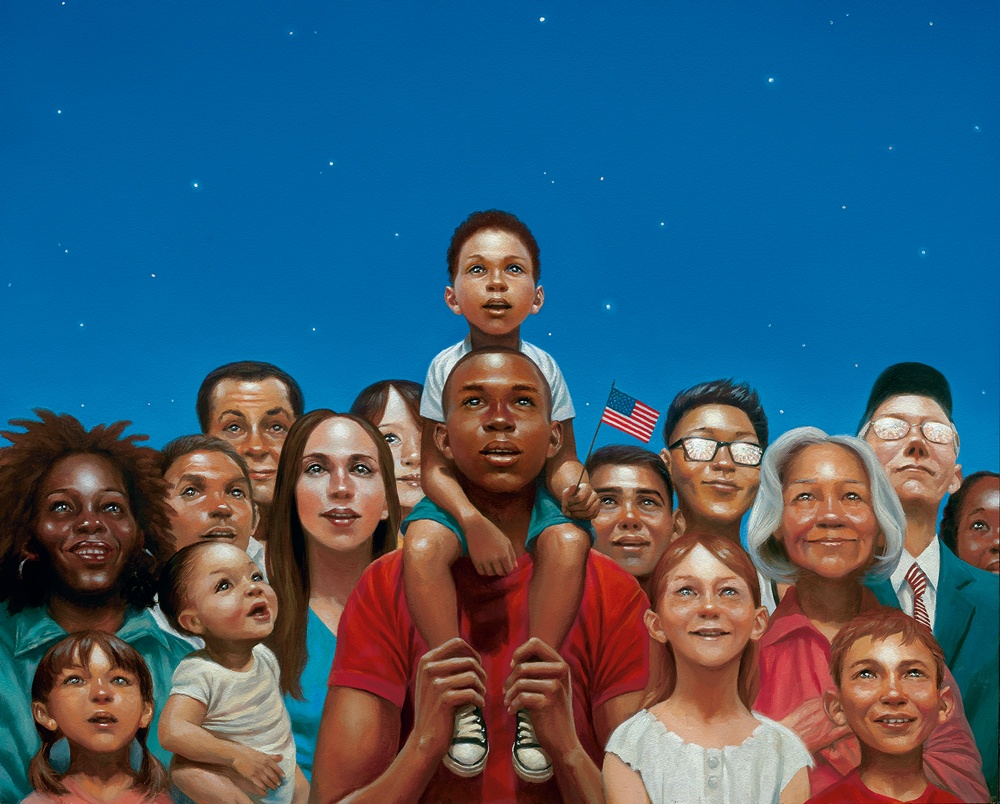A illustrated image depicting a community of diverse neighbors