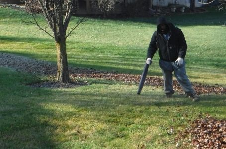 A ELCS employee clearing a lawn of fallen leaves in the fall.