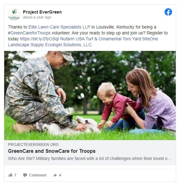 Project Evergreen thanking ELCS on Facebook for the work they do for our troops.